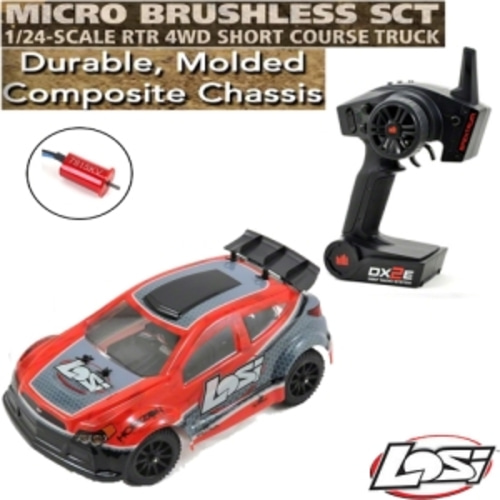 엑스캅터 - Losi 1/24 Micro Rally X 4WD RTR w/DX2E 2.4GHz Radio (Red)