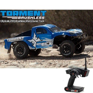 엑스캅터 - 토먼트 Torment 1/10 Brushless RTR 2WD Short Course Truck w/DX2E 2.4GHz Radio (Blue/White)