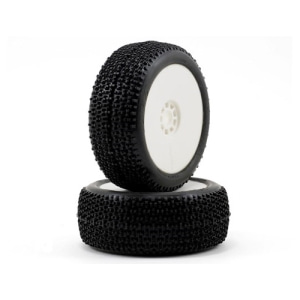 엑스캅터 - AKA Cityblock 1/8 Buggy Pre-Mounted Tires (2) (White) (Soft) 경기용 타이어